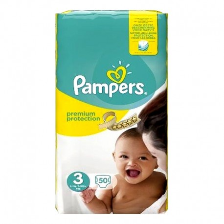 Pack 50 Couches Pampers Premium Protection - New Baby taille 3 sur Promo Couches