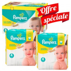Pack Jumeaux 672 Couches Pampers Premium Protection - New Baby taille 4 sur Promo Couches