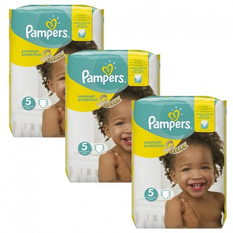 Giga Pack 204 Couches Pampers Premium Protection - New Baby taille 5 sur Promo Couches