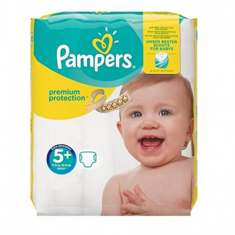 Pack 32 Couches Pampers New Baby Premium Protection taille 5+ sur Promo Couches