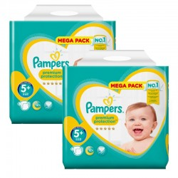 Mega Pack 256 Couches Pampers Premium Protection - New Baby taille 5+