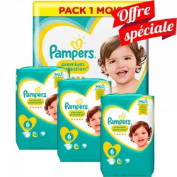 Maxi Giga Pack 480 Couches Pampers Premium Protection - New Baby taille 6 sur Promo Couches
