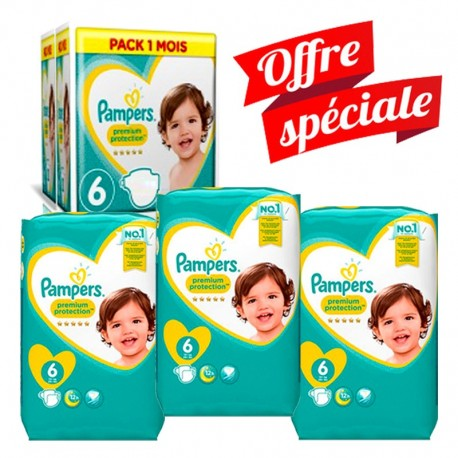 Giga Pack 217 Couches Pampers Premium Protection - New Baby taille 6 sur Promo Couches