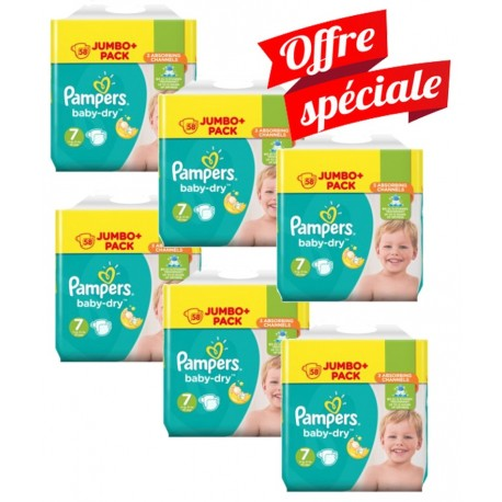 Maxi Mega Pack 224 Couches Pampers Baby Dry taille 7 sur Promo Couches