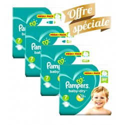 Pack Jumeaux 308 Couches Pampers Baby Dry taille 7 sur Promo Couches