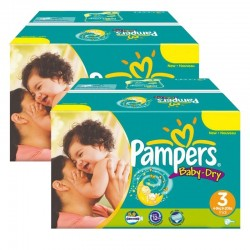 Giga Pack Jumeaux 408 Couches Pampers Baby Dry taille 3 sur Promo Couches
