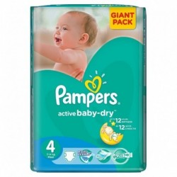 Pack 90 Couches Pampers Active Baby Dry taille 4+ sur Promo Couches