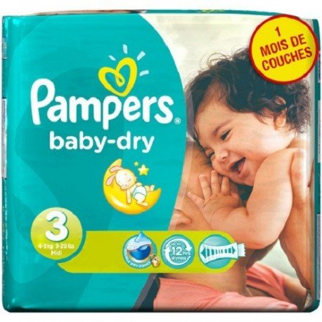 Pack 34 Couches Pampers Baby Dry taille 3 sur Promo Couches