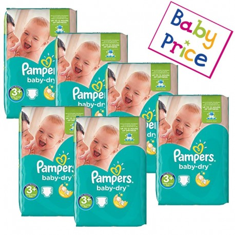 Mega Pack 188 Couches Pampers Baby Dry taille 3+ sur Promo Couches