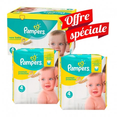 Mega Pack 312 Couches Pampers New Baby - Premium Protection taille 4 sur Promo Couches
