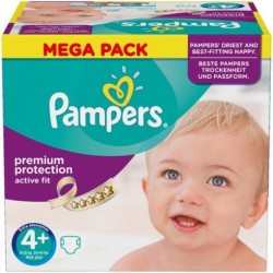 Pack 62 Couches Pampers Active Fit taille 4+ sur Promo Couches