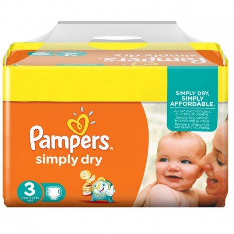 Couches pampers simply dry taille 3 pas cher 52 couches sur promo couches - Promo couche pampers auchan ...
