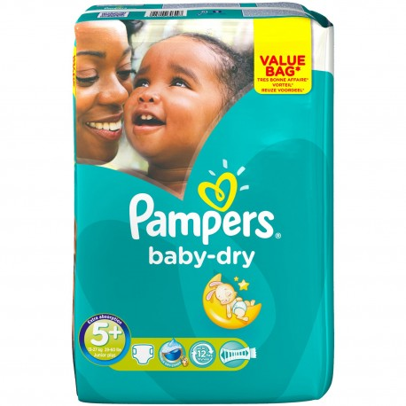Pack 28 Couches Pampers Baby Dry taille 5+ sur Promo Couches