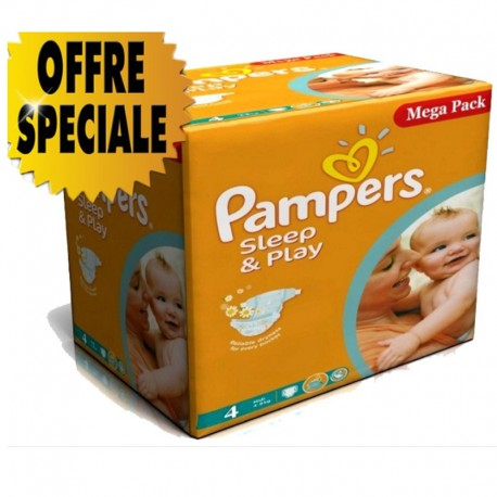 Giga Pack 432 Couches Pampers Sleep & Play taille 4 sur Promo Couches