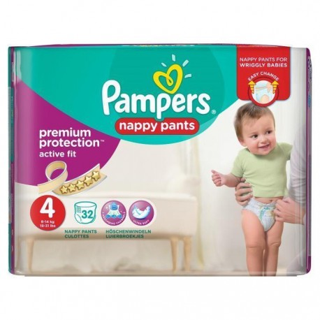 Pack 32 Couches Pampers Active Fit Pants taille 4 sur Promo Couches