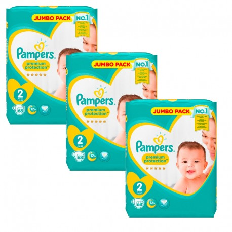 Giga Pack 204 Couches Pampers New Baby - Premium Protection taille 2 sur Promo Couches