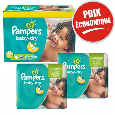 Giga Pack 225 Couches Pampers Baby Dry taille 5+ sur Promo Couches