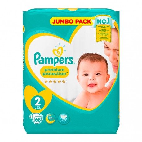 Pack 68 Couches Pampers New Baby - Premium Protection taille 2 sur Promo Couches