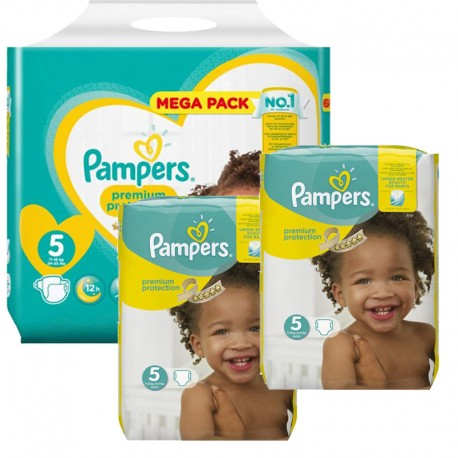 Giga Pack 315 Couches Pampers New Baby - Premium Protection taille 5 sur Promo Couches