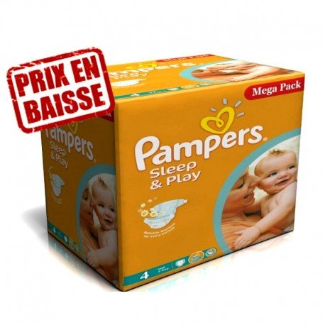 Giga Pack 216 Couches Pampers Sleep & Play taille 4 sur Promo Couches
