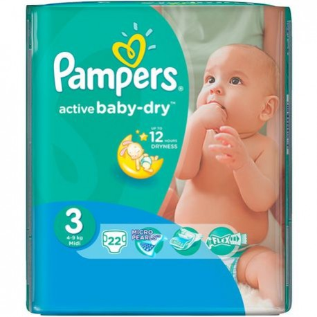 Pack 22 Couches Pampers Active Baby Dry taille 3 sur Promo Couches