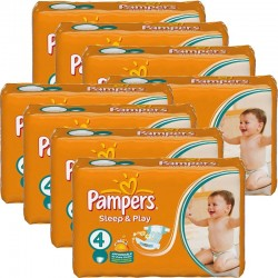 Giga Pack 540 Couches Pampers Sleep & Play taille 4 sur Promo Couches