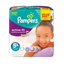 Pack 32 Couches Pampers Active Fit - Premiun Protection taille 5+ sur Promo Couches