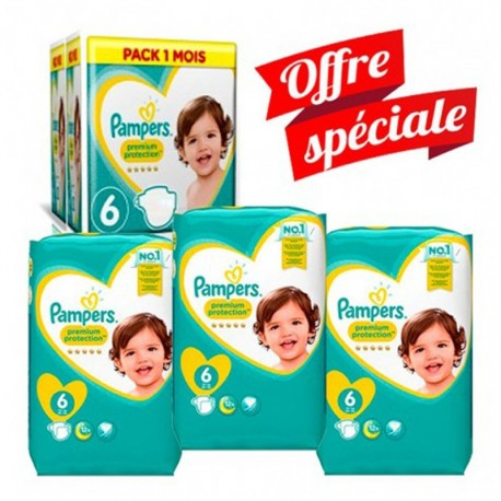 Giga Pack 168 Couches Pampers New Baby - Premium Protection taille 6 sur Promo Couches