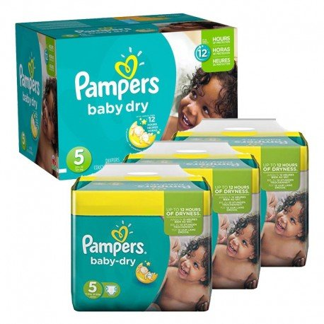 Maxi Pack 288 Couches Pampers Baby Dry taille 5 sur Promo Couches