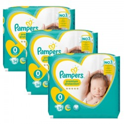 Maxi Giga Pack 72 Couches Pampers New Baby Premium Protection taille 0