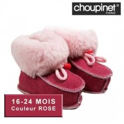 Chaussons bébé en Agneau Mérinos 16-24 MOIS Couleur ROSE sur Promo Couches