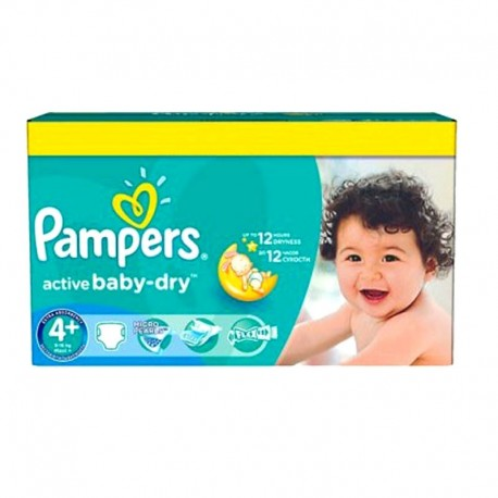 Pack 96 Couches Pampers Active Baby Dry taille 4+ sur Promo Couches