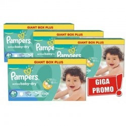 Giga Pack 576 Couches Pampers Active Baby Dry taille 4+ sur Promo Couches
