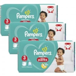 Mega Pack 130 Couches Pampers Baby Dry Pants taille 3 sur Promo Couches