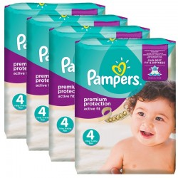 Mega Pack 336 Couches Pampers Active Fit Premium Protection taille 4 sur Promo Couches