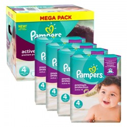 Mega Pack 504 Couches Pampers Active Fit Premium Protection taille 4 sur Promo Couches
