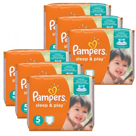 Mega Pack 232 Couches Pampers Sleep & Play taille 5 sur Promo Couches