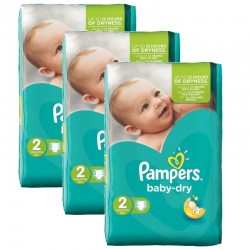 126 Couches Pampers Baby Dry taille 2