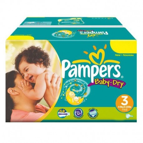 Mega Pack 374 Couches Pampers Baby Dry taille 3 sur Promo Couches