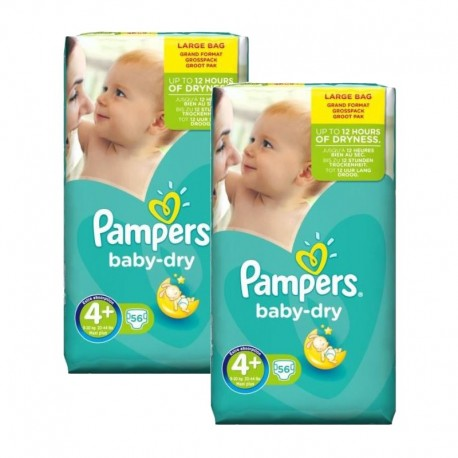 couches 2 x 112 2-pack Pampers Baby Dry Maxi Taille 4 9-18kg Giga Pack