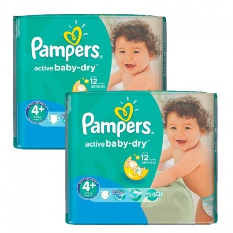 Maxi Pack 108 Couches Pampers Active Baby Dry taille 4+ sur Promo Couches
