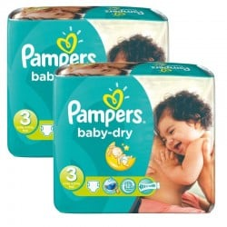 102 Couches Pampers Baby Dry taille 3