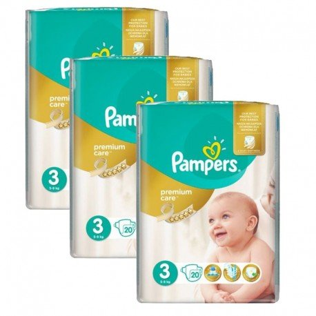 Mega Pack 60 Couches Pampers Premium Care - Prima taille 3 sur Promo Couches