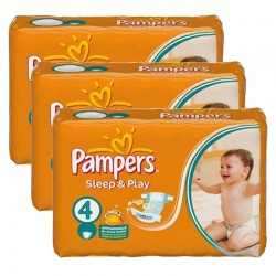Mega Pack 180 Couches Pampers Sleep & Play taille 4 sur Promo Couches