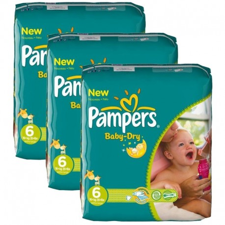 Pack 132 Couches Pampers Baby Dry taille 6 sur Promo Couches