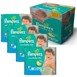 Giga Pack 350 Couches Pampers Active Baby Dry taille 4+ sur Promo Couches