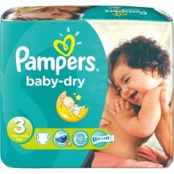 Pack économique 272 Couches Pampers de la gamme Baby Dry taille 3