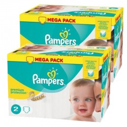 Mega Pack 330 Couches Pampers new baby - premium protection taille 2 sur Promo Couches