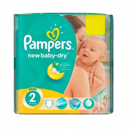 Pack 43 Couches Pampers New Baby Dry taille 2 sur Promo Couches