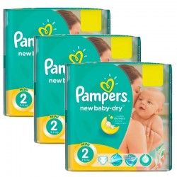 Maxi Pack 129 Couches Pampers New Baby Dry taille 2 sur Promo Couches